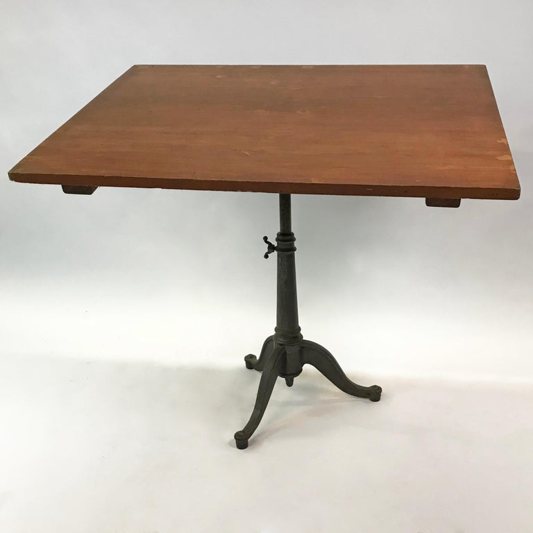 American Large Industrial Cherry Drafting Table Cast Iron Pedestal Base For Sale
