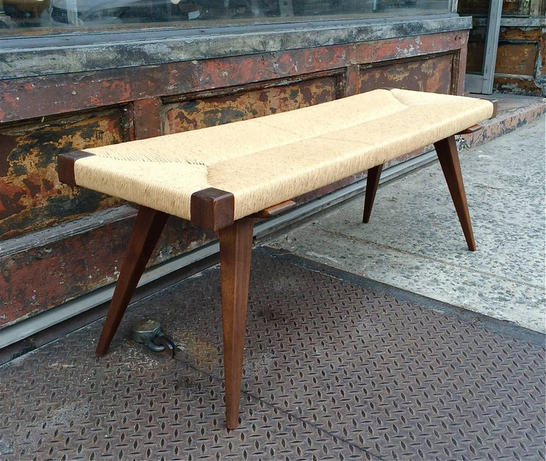 Custom Mid Century Modern Woven Rush Benches 4 Ft For Sale At 1stdibs