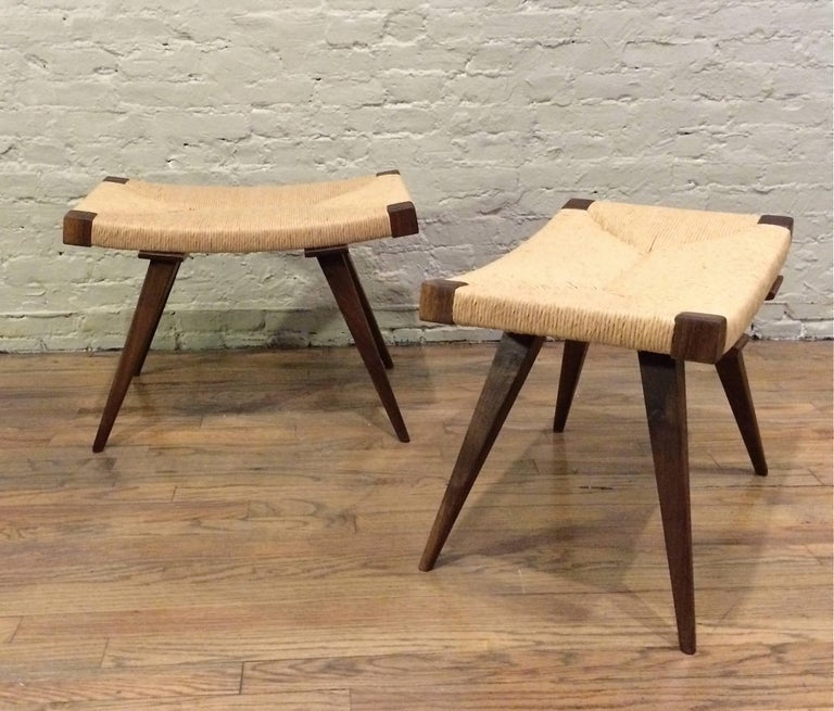 American Mid-Century Modern Woven Rush Ottomans For Sale