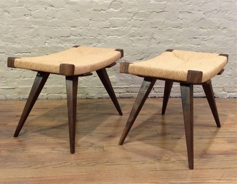 Mid-Century Modern Woven Rush Ottomans In Excellent Condition For Sale In Brooklyn, NY
