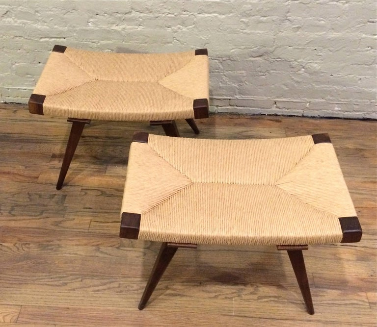 Contemporary Mid-Century Modern Woven Rush Ottomans For Sale