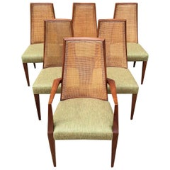 Mid-Century Modern Tall Cane Back Dining Chairs by Grosfeld House