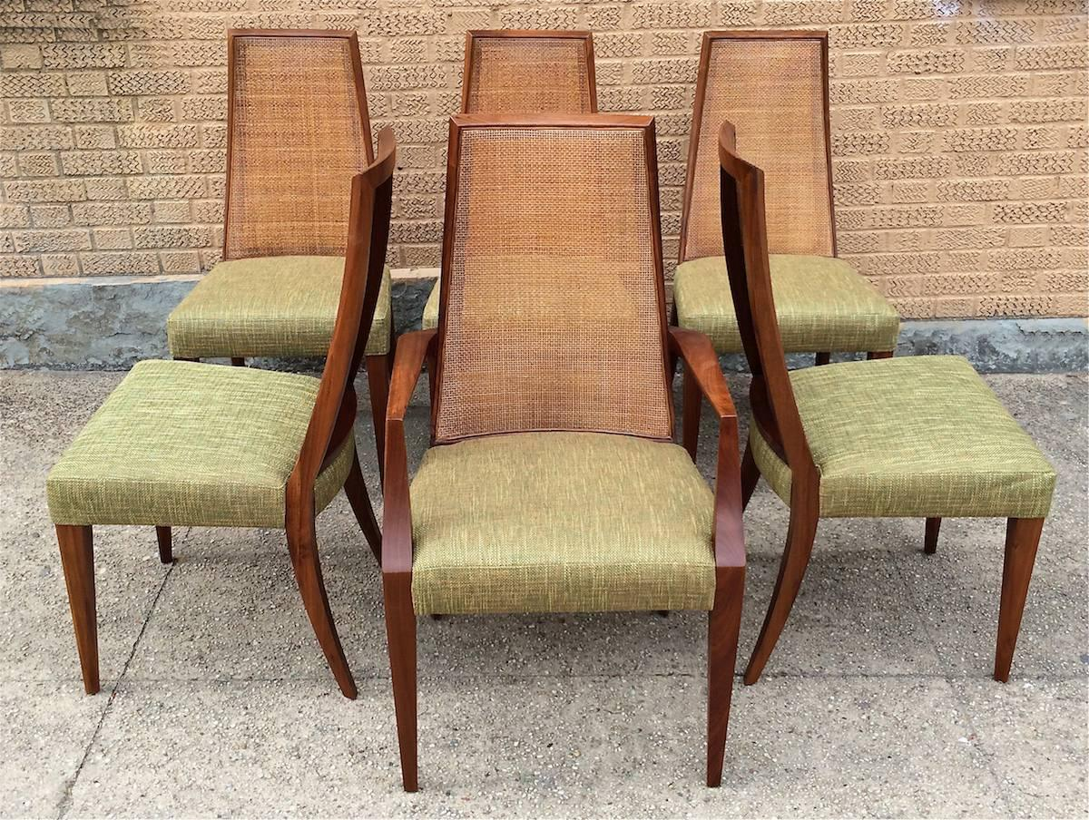 Mid Century Modern Tall Cane Back Dining Chairs By Grosfeld House At 1stdibs