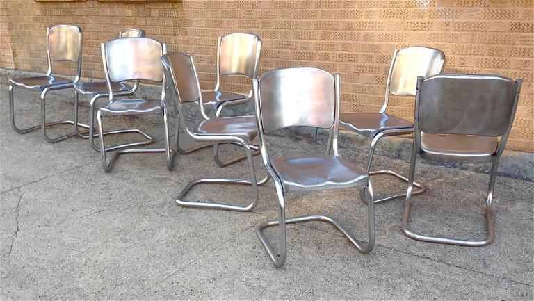 brushed steel dining chairs