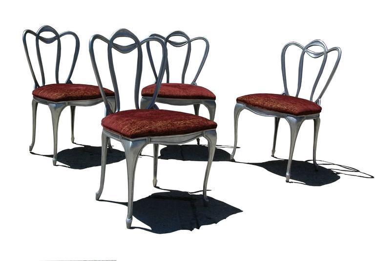 Hollywood Regency Aluminum Chair Set For Sale 6