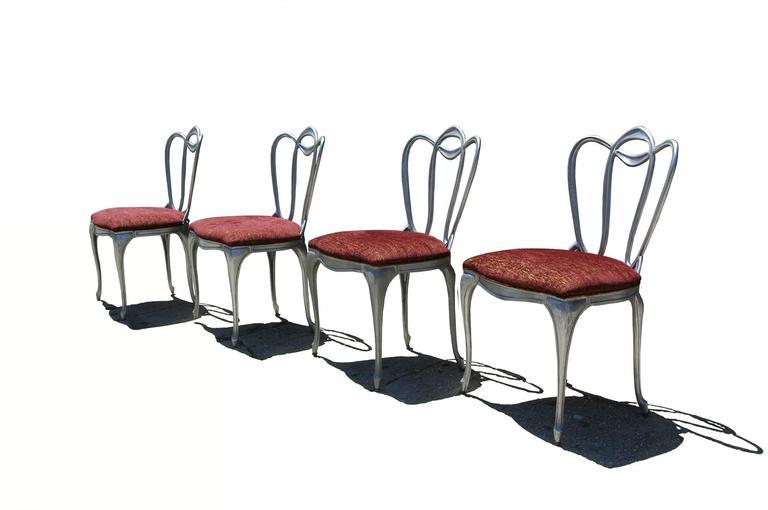 Hollywood Regency Aluminum Chair Set For Sale 7