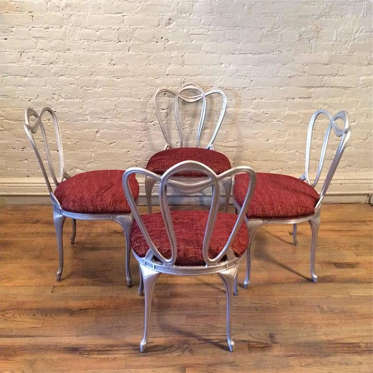 Hollywood Regency Aluminum Chair Set In Good Condition For Sale In Brooklyn, NY