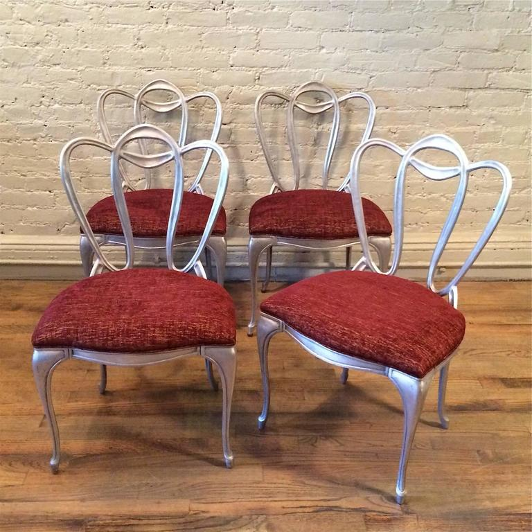 American Hollywood Regency Aluminum Chair Set For Sale