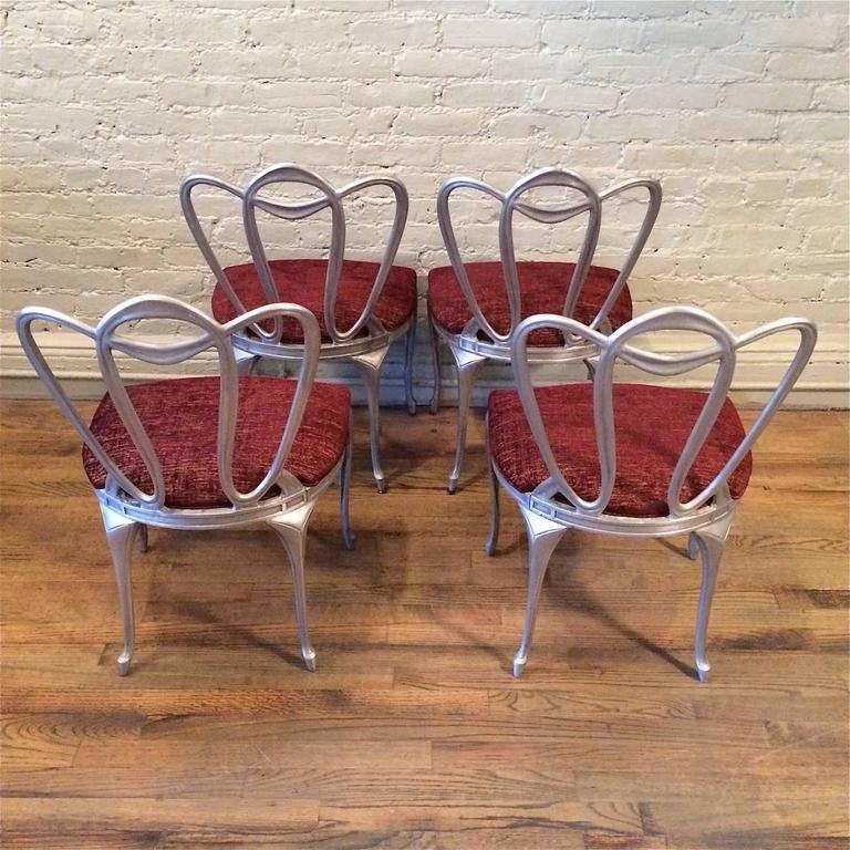 Hollywood Regency Aluminum Chair Set For Sale 2