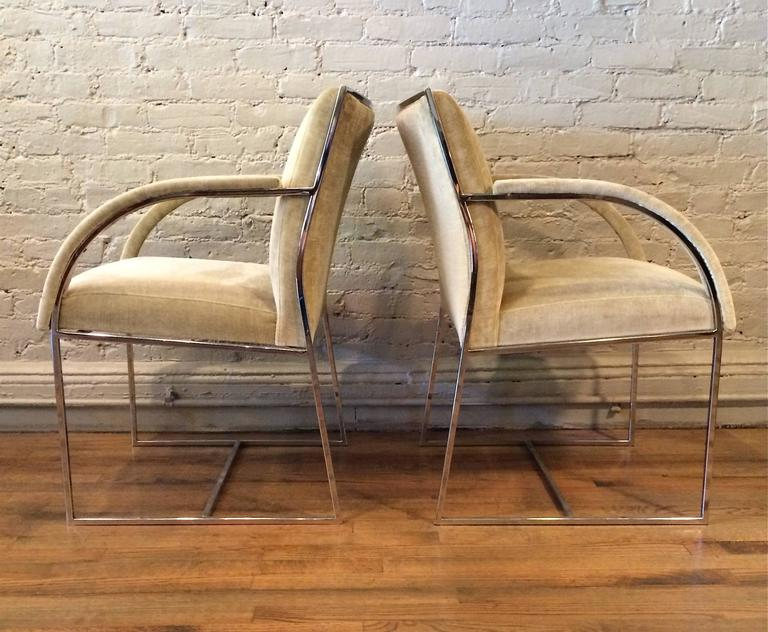 Mid-Century Modern Chrome Armchairs in the Style of Milo Baughman In Excellent Condition For Sale In Brooklyn, NY