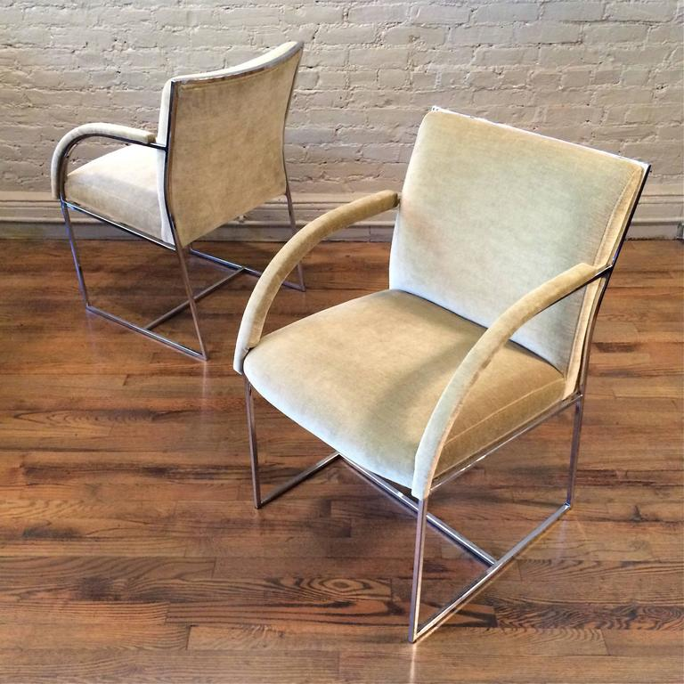 American Mid-Century Modern Chrome Armchairs in the Style of Milo Baughman For Sale