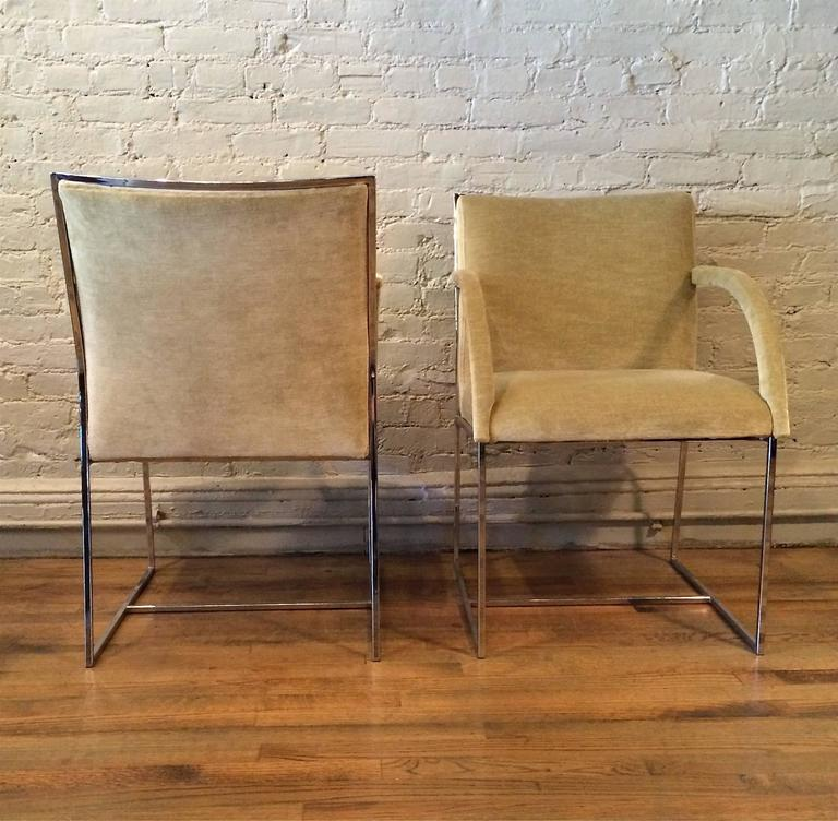 Mid-20th Century Mid-Century Modern Chrome Armchairs in the Style of Milo Baughman For Sale