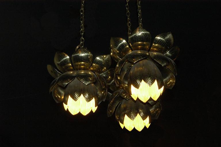 American Feldman Lighting Co. Mid-Century Lotus Pendant Chandelier For Sale