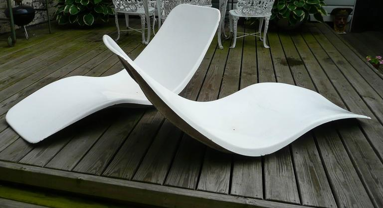 Charles Zublena Fiberglass Pool Chaise Lounges France For
