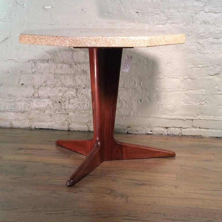 Mid-Century Modern side table by Harvey Probber with octagonal, mosaic, terrazzo top and walnut pedestal base.