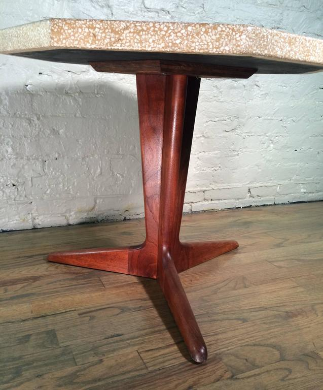 American Mid Century Modern Terrazzo Pedestal Side Table By Harvey Probber  For Sale