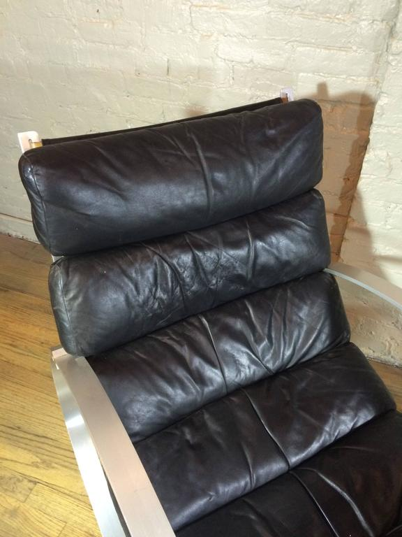 German Hans Kaufeld Leather Rocking Chair and Ottoman For Sale