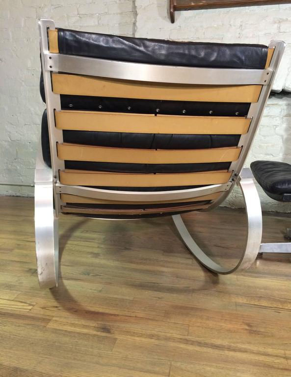Hans Kaufeld Leather Rocking Chair and Ottoman In Good Condition For Sale In Brooklyn, NY