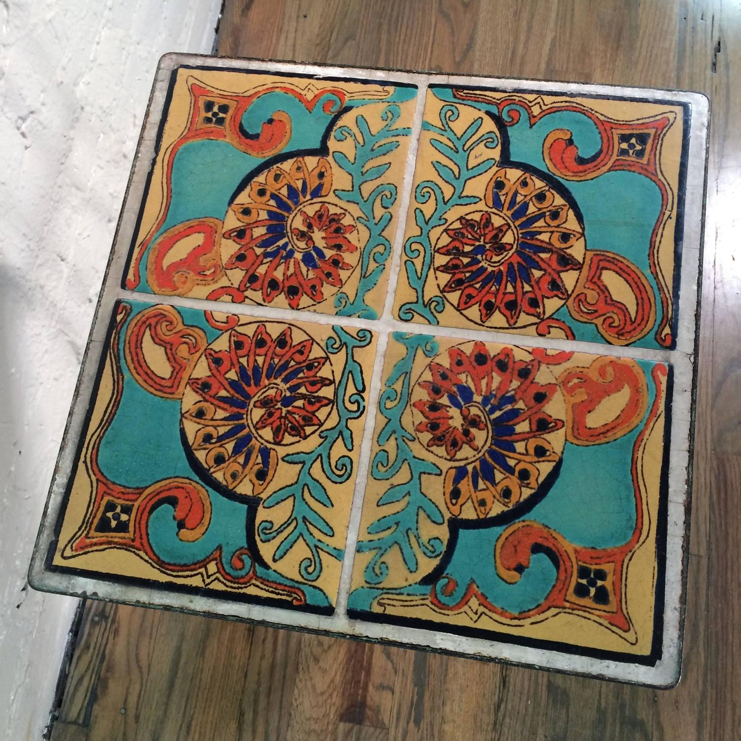 Arts and crafts ceramic tile table for sale at 1stdibs for Arts and crafts tiles