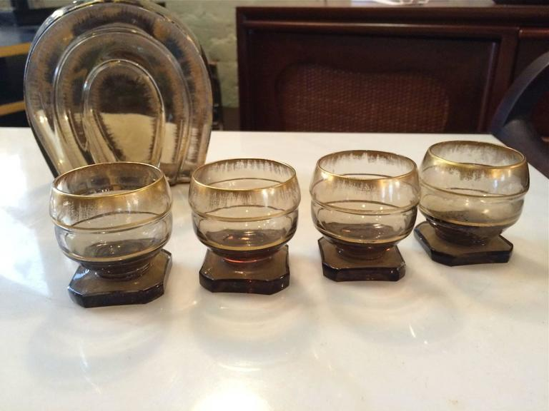 Early 20th Century Art Deco Smoked Glass Decanter Set For Sale