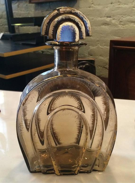 Art Deco Smoked Glass Decanter Set In Good Condition For Sale In Brooklyn, NY