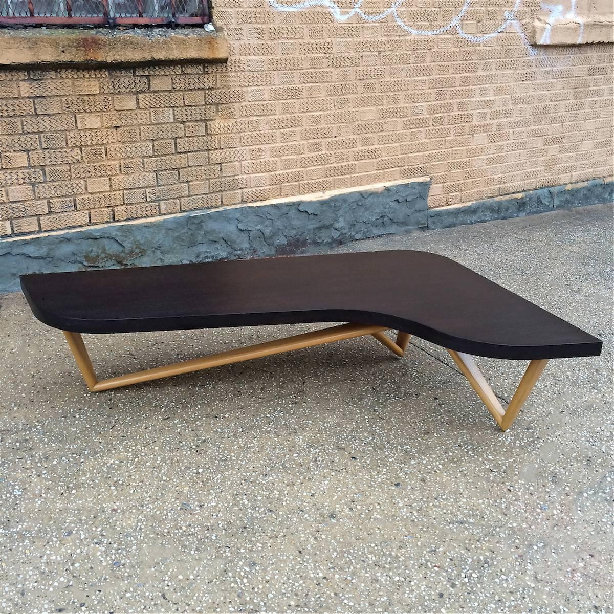 Mid-Century Modern Ebonized Boomerang Coffee Table For