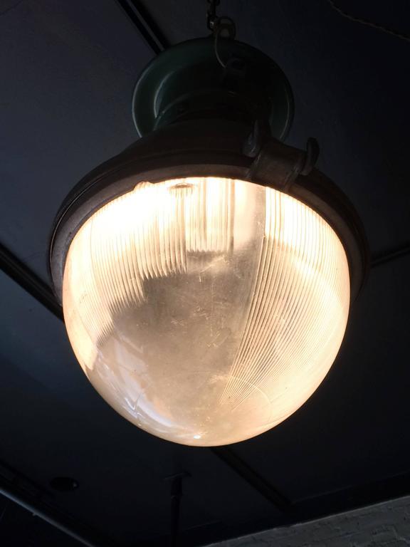 Rare Industrial Holophane Street Light Pendant For Sale 1
