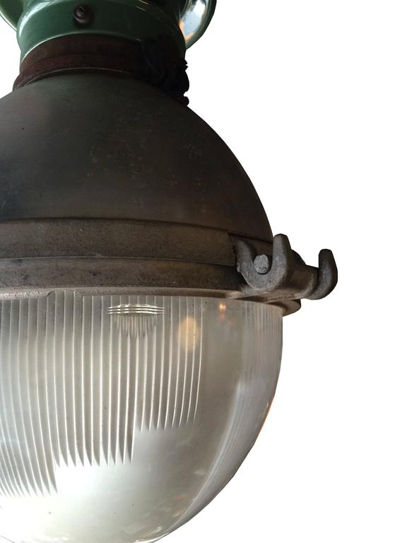 American Rare Industrial Holophane Street Light Pendant For Sale