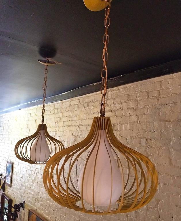 Mid-20th Century Mid-Century Modern Onion Shape Pendant Lights For Sale