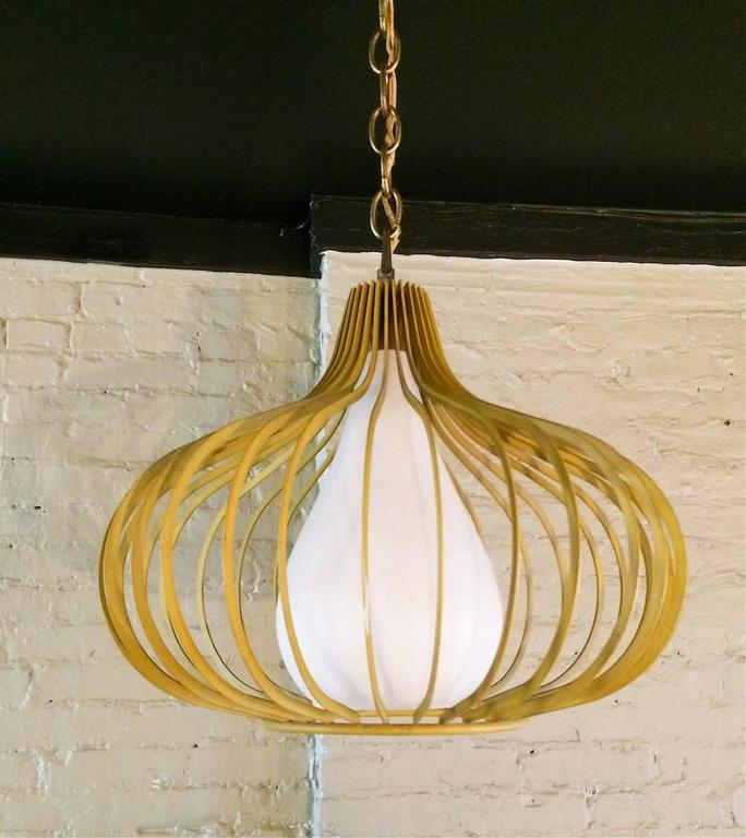 Frosted Mid-Century Modern Onion Shape Pendant Lights For Sale