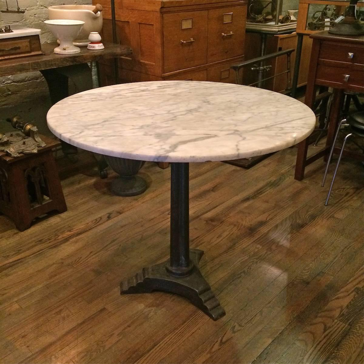 The Foundry Ii Cafe Rollins Dining Table Art Furniture: French Marble Art Deco Pedestal Bistro Café Table At 1stdibs