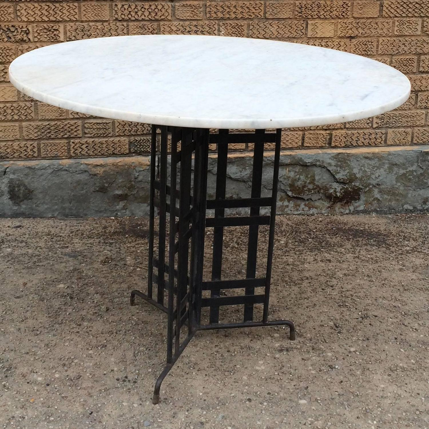 The Foundry Ii Cafe Rollins Dining Table Art Furniture: Marble Bistro Café Table With Architectural Wrought Iron