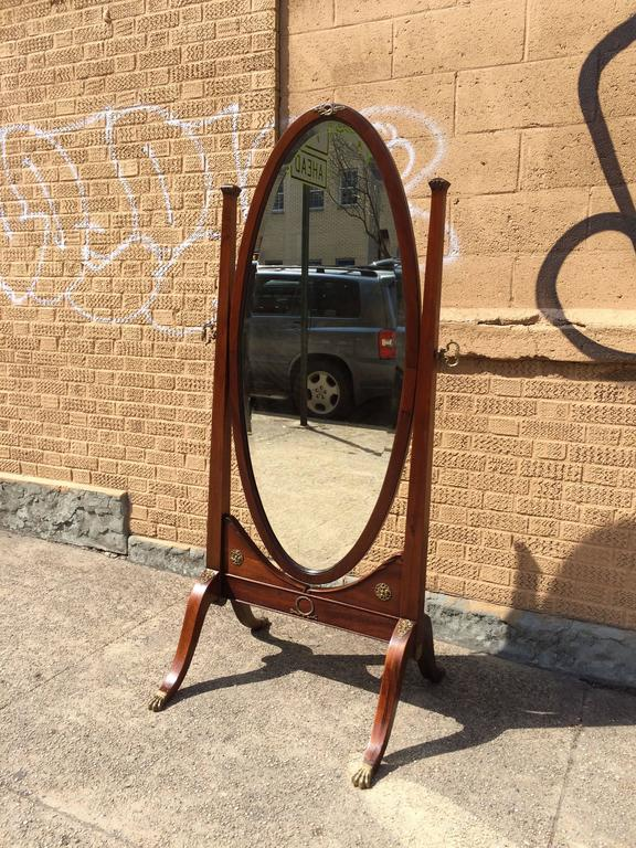 19th Century Antique Mahogany Cheval Mirror At 1stdibs