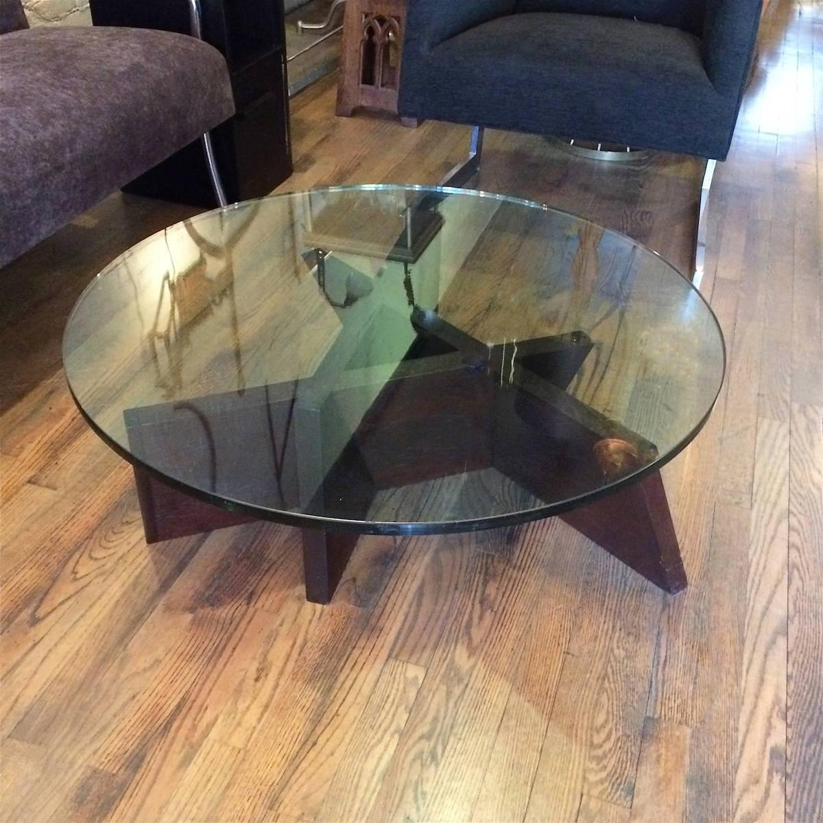 Mid Century Modern Abstract Sculptural Oak And Glass Coffee Table At 1stdibs