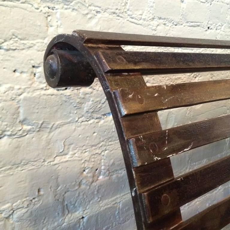 Late 19th Century Victorian Wrought Iron Park Bench In Good Condition For Sale In Brooklyn, NY