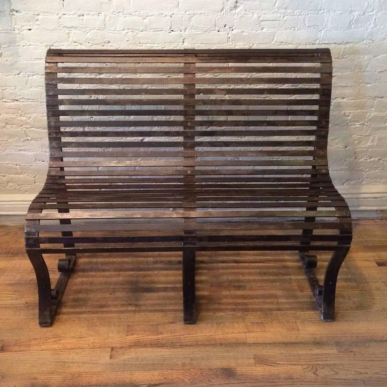 American Late 19th Century Victorian Wrought Iron Park Bench For Sale