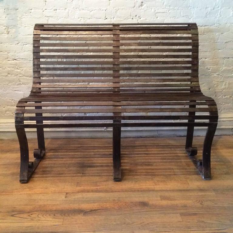 Late Victorian Late 19th Century Victorian Wrought Iron Park Bench For Sale