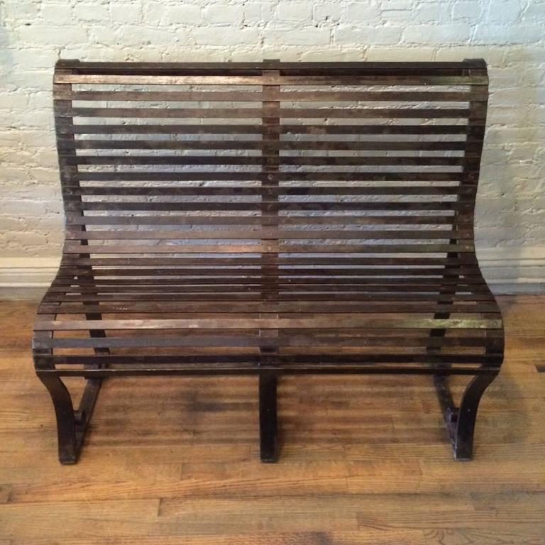 Late 19th Century Victorian Wrought Iron Park Bench For Sale 2