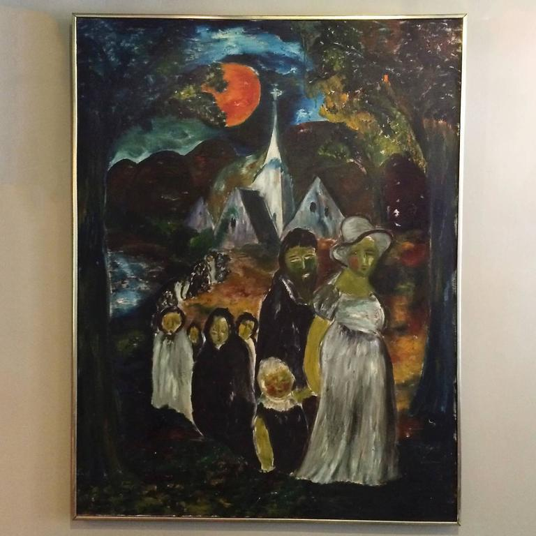 Large impressive Folk Art acrylic painting of a haunting, moonlit, church procession is signed by the Danish born artist and dated 1963. There is one small tear in the canvas as shown. Frame is aluminum and wood. This artist's work also includes our