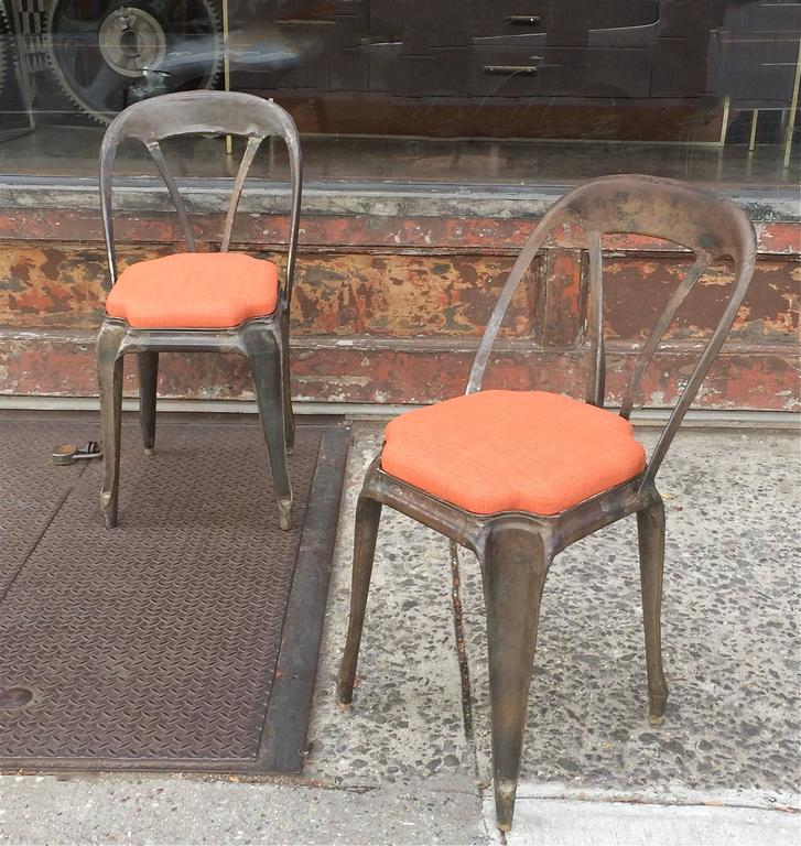 Pair Of Brushed Steel Tolix Café Chairs Circa 1920s With Newly Upholstered Seats In
