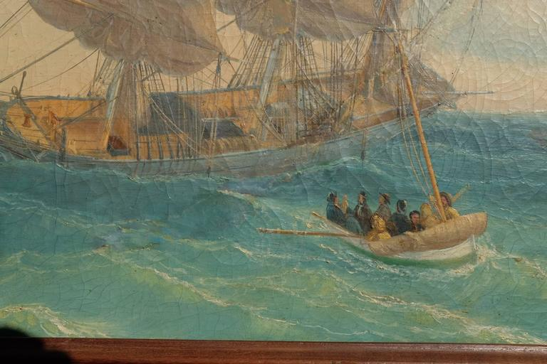 Painting by Louis Gamain, oil on canvas, signed and dated 1865.  Excellent condition.  Louis Gamain grew up in Le Havre and had a passion for the ocean.  At age 7, he boarded his brother's ship going to Marseille but could not take the return