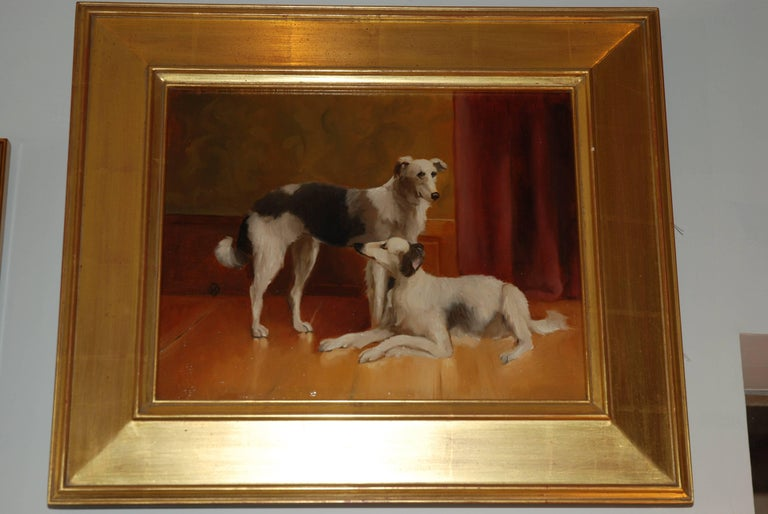 Oil Painting of a pair of Borzoi Dogs after Carl Reichert Oil on board Gold leaf frame