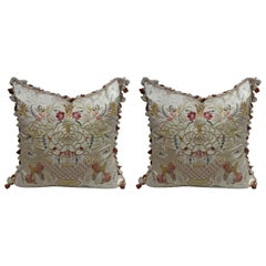Embroidered Pillows in Cream Scalamandre Fabric