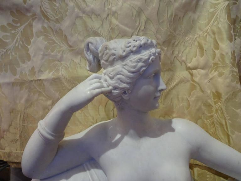 Italian Pauline Borghese Marble Sculpture For Sale