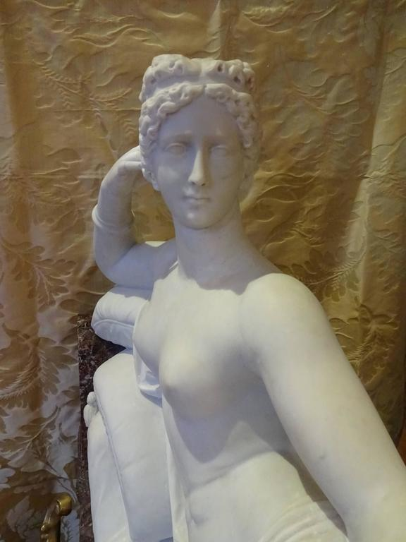 Pauline Borghese Marble Sculpture In Excellent Condition For Sale In Palm Beach, FL