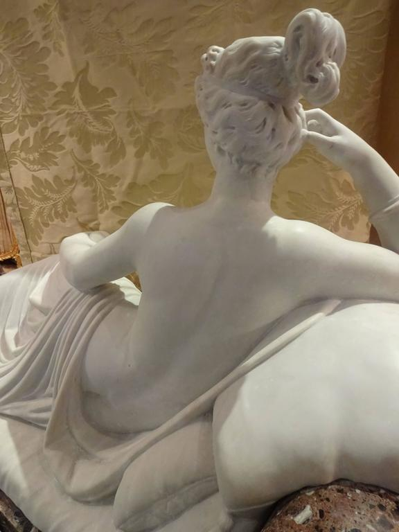 19th Century Pauline Borghese Marble Sculpture For Sale