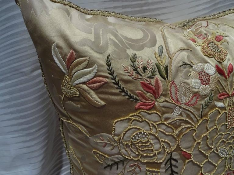 LUXURIOUS EMBROIDERED PILLOW - HONEY COLOR. Scalamandre fabric Front, Multi Color Embroidery over Honey Silk Damask. Heavy silk twill fabric Back. Large embroidered braid trimming. Size : 22