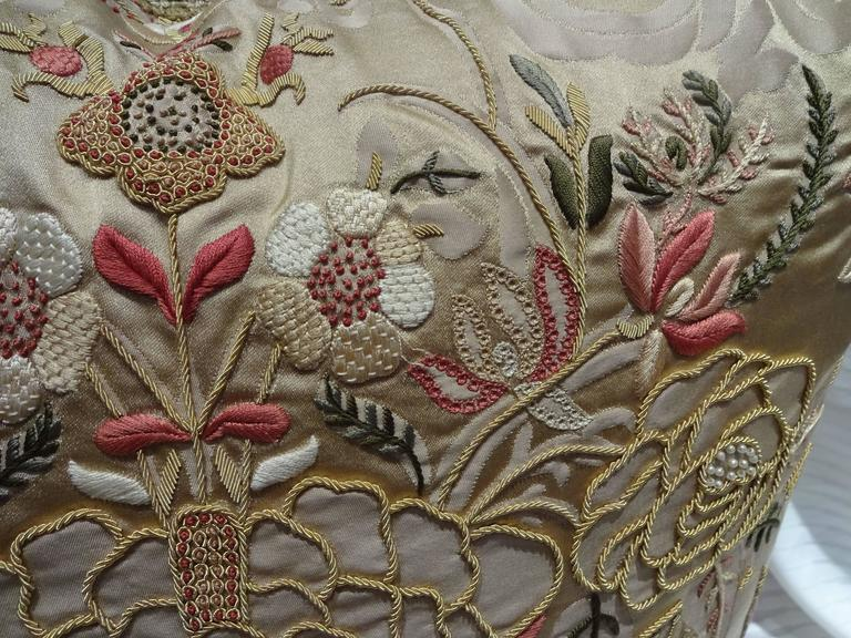 Italian Magnificent Embroidered Pillows, Scalamandre Fabric