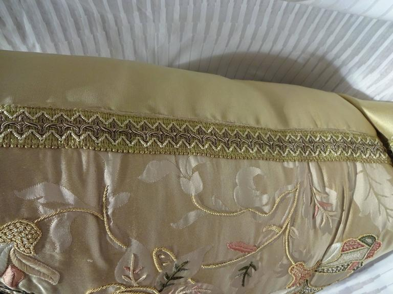 Louis XVI Magnificent Embroidered Pillows, Scalamandre Fabric