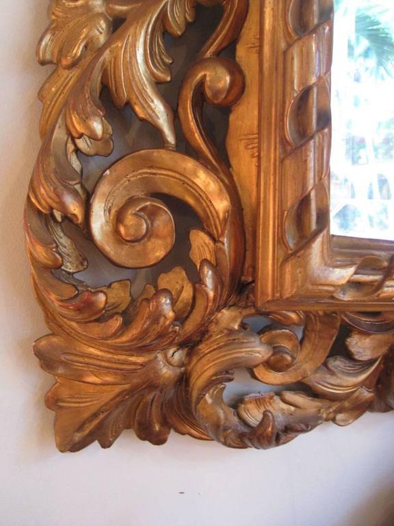 Wood Carved Gilt Mirror, Napoleon III For Sale